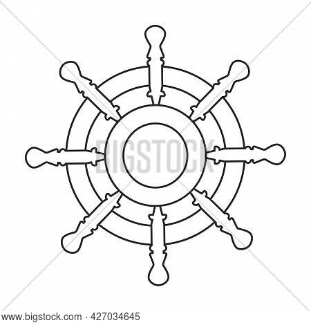 Ship Wheel Vector Outline Icon. Vector Illustration Helm On White Background. Isolated Outline Illus
