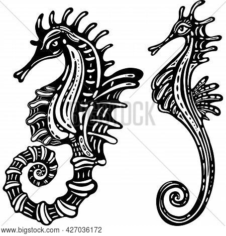 Ornamental Decorative Sea Horse Isolated Silhouette Stylized Fcharacter