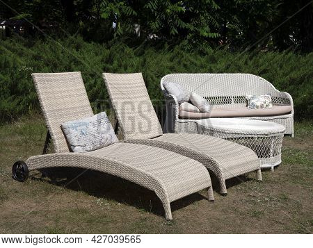 Two Outdoor Chaise Lounge Chairs, Sofa And Table. Garden Furniture. Outdoor Furniture Set
