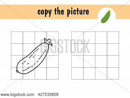 Children S Mini-game On Paper - Repeat The Drawing Of A Cucumber. Copy The Picture Using Grid Lines,