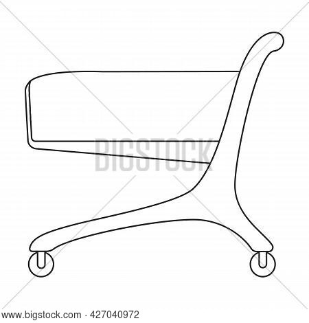 Trolley Basket Vector Outline Icon. Vector Illustration Supermarketart Cart On White Background. Iso