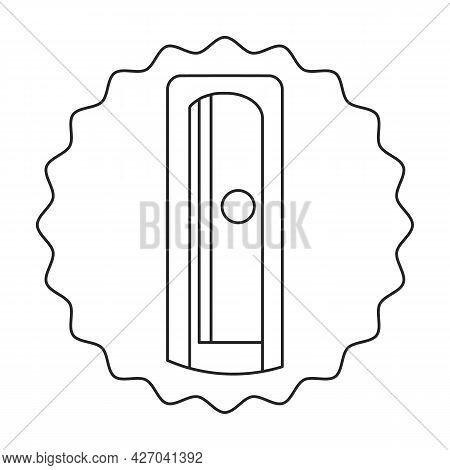 Pencil Sharpener Vector Outline Icon. Vector Illustration Sharpen Blade On White Background. Isolate