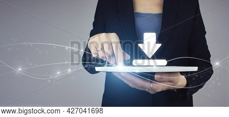 Update Software Computer Program Concept. White Tablet In Businesswoman Hand With Digital Hologram D