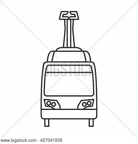 Tram Vector Outline Icon. Vector Illustration Train On White Background. Isolated Outline Illustrati