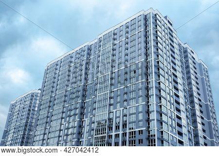 Kyiv, Ukraine - May, 17 2021: Multistory House. New House Condominium Building Real Estate Modern Re