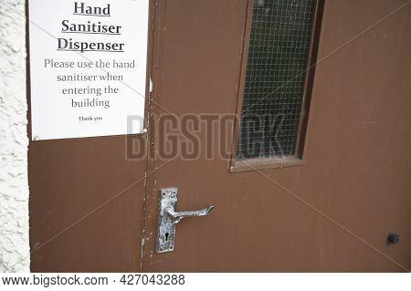 Hand Sanitiser Dispenser For Customer Use To Wash Hands Reduce Risk Of Coronavirus Virus With Liquid