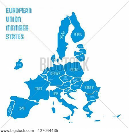 Simplified Map Of Eu, European Union. Rounded Shapes Of States With Smoothed Border. Blue Simple Fla