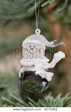 Glass Snowman Hanging Ornament