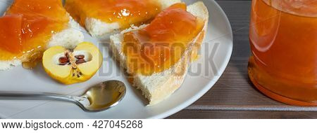 Toast With Quince Jam Close Up. Delicious Homemade Quince Jam.