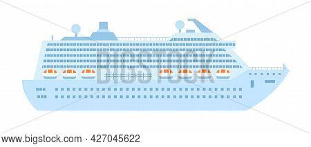Cruise Liner Isolated On White Background. Vector Flat Illustration, Icon.