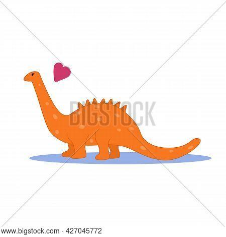 Cute Dinosaur. Orange Dinosaur On A White Background Flat Vector Illustration