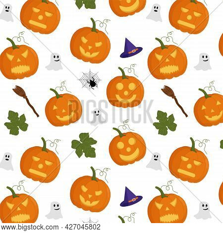 Pumpkin Seamless Vector Pattern. Halloween. Pumpkin With Leaves, Witch Hat, Ghosts, Broom