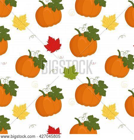 Pumpkin Seamless Vector Pattern. Pumpkin With Maple Leaves