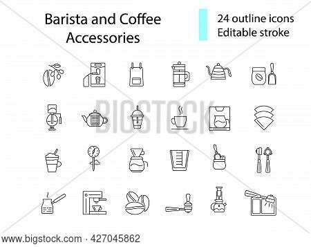 Barista And Coffee Accessories Outline Icons Set. Coffee Shop Tools. Editable Stroke. Isolated Vecto