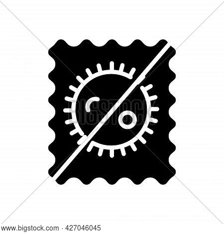 Antimicrobial Material Quality Glyph Icon. Hygiene Concept. Antiseptic Fabric Feature