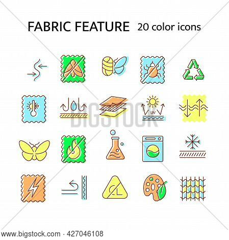 Fabric Feature Flat Icon. Textile Industry. Stretch, Fireproof Material. Insect Resistant. Dust Mite