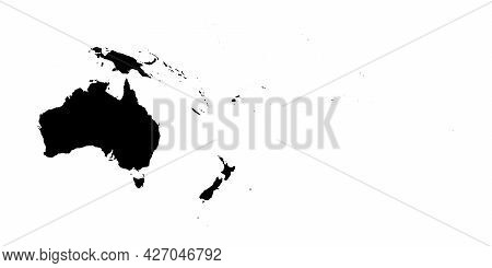 Australia And Oceania - High Detailed Continent Isolated Silhouette Map. Simple Flat Black Vector Il