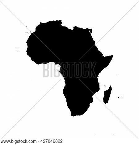 Africa - High Detailed Continent Isolated Silhouette Map. Simple Flat Black Vector Illustration.