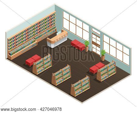 Color Isometric Design Of Library Room With Wall Of Books Reception And Ottoman Vector Illustration