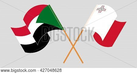 Crossed And Waving Flags Of Malta And Sudan