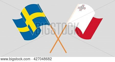 Crossed And Waving Flags Of Malta And Sweden