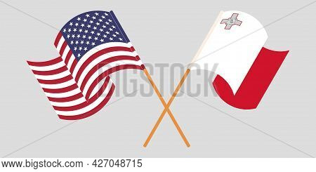 Crossed And Waving Flags Of Malta And The Usa