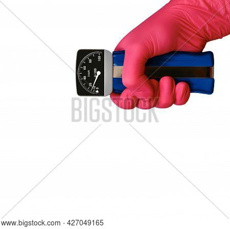 Silomer Squeezed With A Hand In A Rubber Glove. Isolated On A White Background.