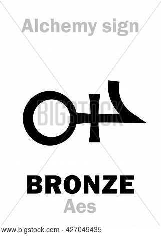 Alchemy Alphabet: Bronze (aes), Also Eq.: Aurichalcum (orichalcum), Composition Metal, Yellowish-bro