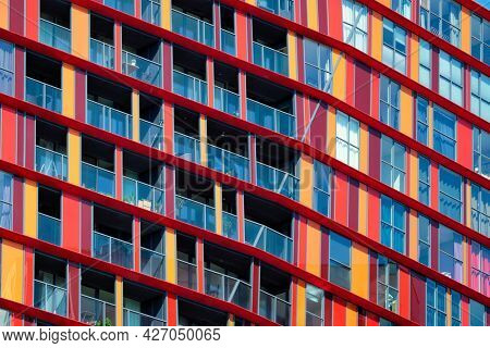 Modern residential building house facade with windows and balconies. Rotterdam (famous for modren architecture), Netherlands