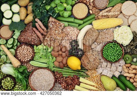 Plant based high fibre health food for gut health with fruit, vegetable, grain and cereal products. Foods also high in antioxidants, omega 3, vitamins, minerals, protein, omega 3 and smart carbs.
