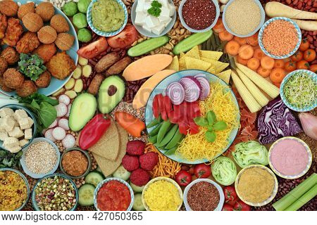 Large plant based vegan health food collection high in antioxidants, protein, omega 3, antioxidants, anthocyanins, smart carb, lycopene, vitamins and minerals. Food for a healthy planet concept.