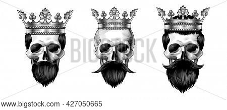 Three kings. Set of skulls in crowns. Male skulls with beard and mustache.