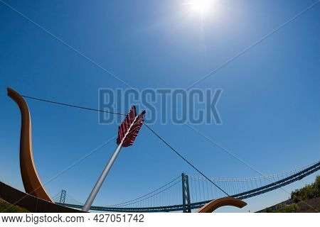 June 23, 2006 - San Francisco, California, USA: Public Sculpture titled Cupid's Span created by Claes Oldenburg and Coosje van Bruggen in San Francisco