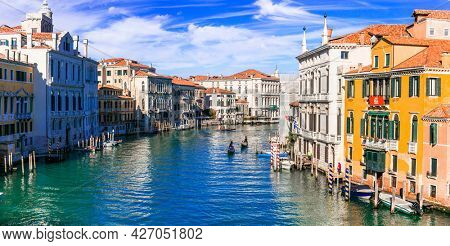 Beautiful romantic Venice town. View of Grand canal from Academy' bridge. Italy november 2020