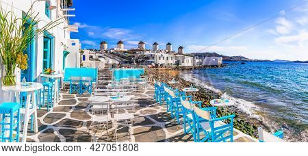 Mykonos island,Cyclades. Greece summer holidays. Bars by the sea in famous popular place