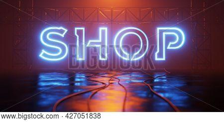 a typical neon light shop sign 3D illustration
