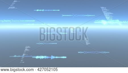Image of data processing and particles recording on glowing blue background. digital interface, global connection and communication concept digitally generated image.