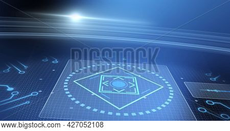 Image of data processing and scope scanning over blue background. digital interface, global connection and communication concept digitally generated image.