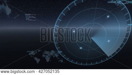 Image of data processing, world maps and statistics recording over universe. digital interface, global connection and communication concept digitally generated image.