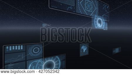 Image of scope scanning, statistics recording, globe spinning and data processing on screens. digital interface, global connection and communication concept digitally generated image.