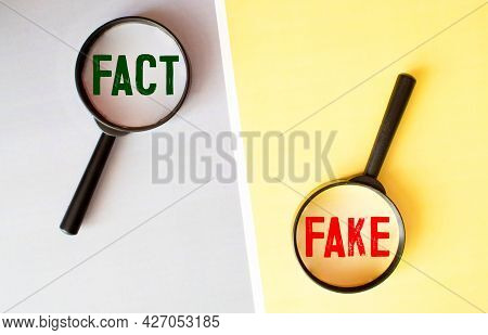 A Magnifying Glass Looking To The Words Fact Fake Made With Letter Game Blocks On A Bright Yellow Ba