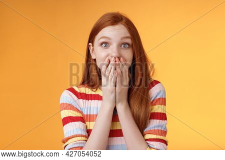 Shocked Surprised Attractive Cute Redhead Girl Receive Awesome Chance Smiling Impressed Gasping Cove