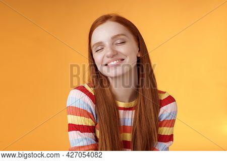Tender Sensual Dreamy Cute Redhead Feminine Girl Dreaming About Tasty Slice Pizza Close Eyes Smiling