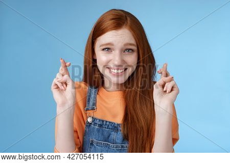 Silly Young Pretty Redhead Girl Blue Eyes Freckles Making Wish Cross Fingers Good Luck Smiling Hopef
