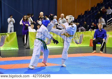 Orenburg, Russia - March 5, 2017 Year: Girls Compete In Karate