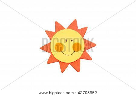 Smiling Sun Isolated On White.