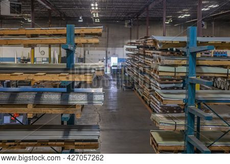 Shelving Racking For Storage Of Materials In Metal Works Factory