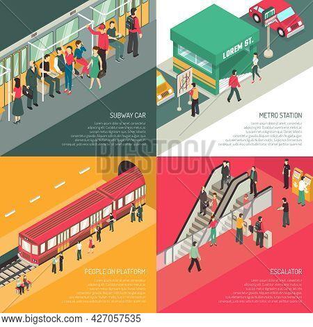 Underground Metro Subway Station Concept 4 Isometric Icons Square With Passengers On Escalator And P