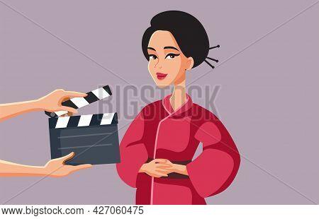 Asian Woman Filming Historical Tv Drama Vector Illustration