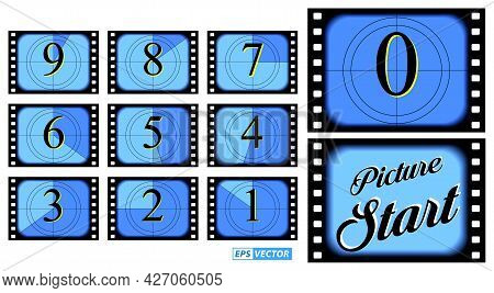 Set Of Film Countdown Frame Isolated Or Creative Counted Down Numbers Vintage Style Or Old Retro Mov